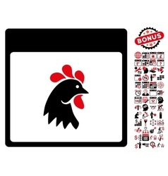 Rooster head calendar page flat icon with vector