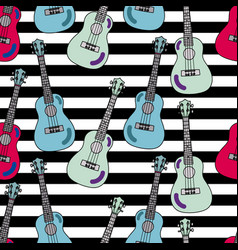 seamless pattern with ukulele vector image