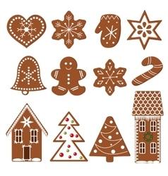 Set of gingerbread figures vector