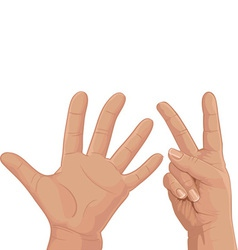 Seven from fingers vector image