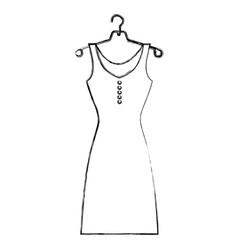 Sketch silhouette female dress in hanger vector