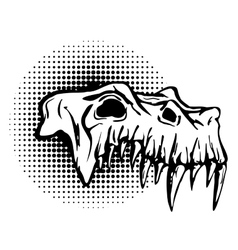 Skull of danger beast with huge fangs vector image vector image