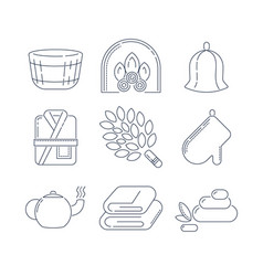 Spa sauna linear icons fireplace mitt herbal vector