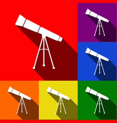 Telescope simple sign set of icons with vector