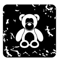 Toy bear icon grunge style vector image vector image