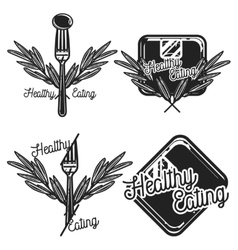 Vintage nutritionist emblems vector