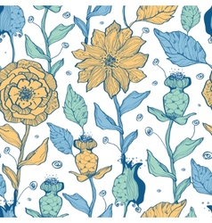 Whimsical flower garden seamless pattern vector