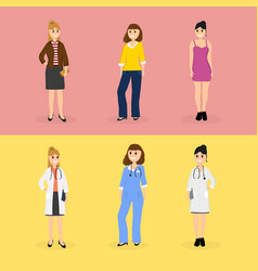 Women are young doctors and these same women in vector