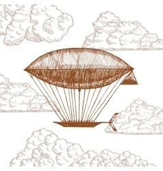 Zeppelin in Clouds on Sky Hand Draw Sketch vector image