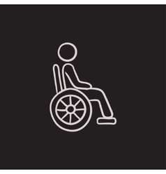 Disabled person sketch icon vector