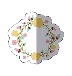 Sticker circular arch with leaves and flowers vector