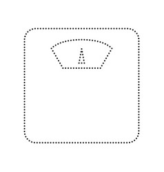 Bathroom scale sign  black dotted icon on vector