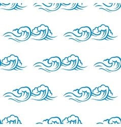 Seamless pattern of cresting ocean waves vector