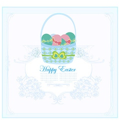 Happy easter border with eggs card vector