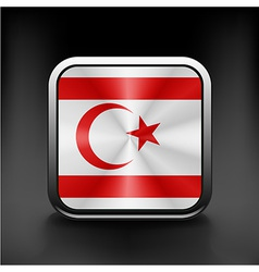 Flag button of turkish republic of north cyprus vector