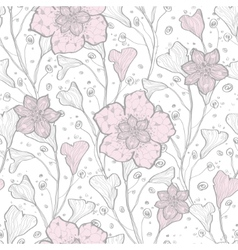 Magical lace flowers seamless pattern vector