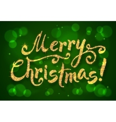 Golden glitter paint hand drawn Merry Christmas vector image