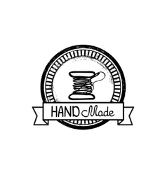 Hand-drawn retro hand-made badge vector image