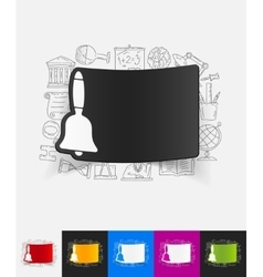 Bell paper sticker with hand drawn elements vector