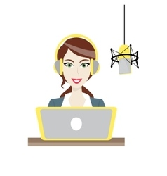 Female brown-haired disc jockey radio station vector