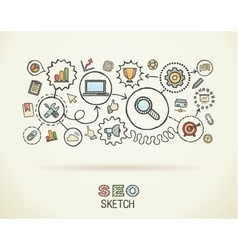 Seo hand draw integrated icons set on paper vector