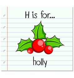 Flashcard alphabet h is for holly vector
