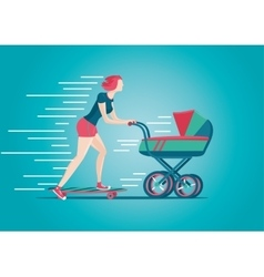 Mother skateborading with pram woman stroller vector