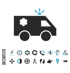 Emergency car flat icon with bonus vector