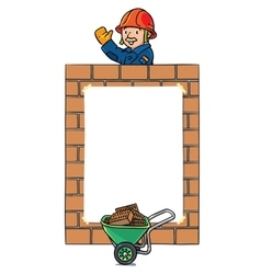 Banner or frame with wall and construction worker vector