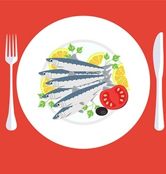 A of grill prepared sardines fish with lemon and vector