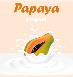 A splash of milk from a falling papaya and drops vector