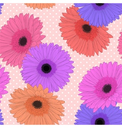Background with gerbera flower hand-drawn vector