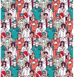 Big group doctors seamless pattern color vector