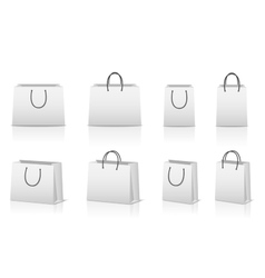 Blank paper shopping bags with reflection vector image