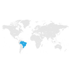 brazil marked by blue in grey world political map vector image