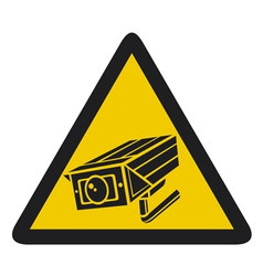 Camera surveillance sign - CCTV triangle symbols vector image vector image