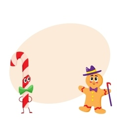 Christmas candy and gingerbread funny character vector