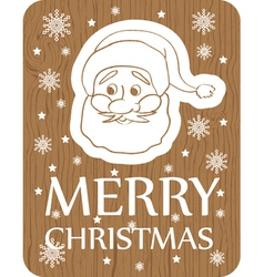 Christmas card with santa on wood background vector