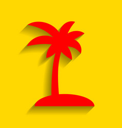 Coconut palm tree sign red icon with soft vector