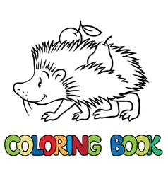Coloring book of little funny hedgehog vector image vector image