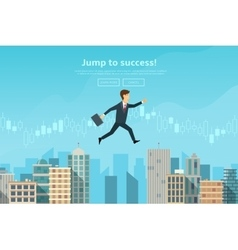 Confident businessman jumping between buildings vector image vector image