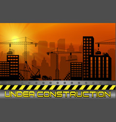 Construction sites with buildings and cranes vector