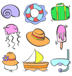 Doodle of summer element collection vector