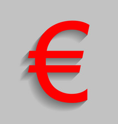 Euro sign red icon with soft shadow on vector