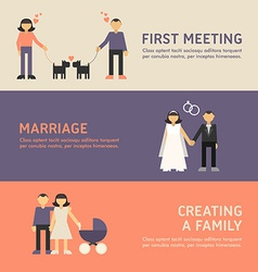 First meeting marriage creating a family flat vector