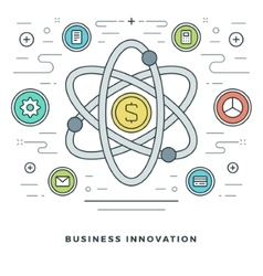 Flat line business innovations or research concept vector