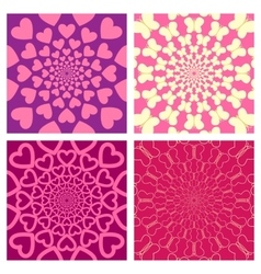 Geometric background set heart butterfly vector