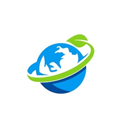 globe earth green leaf logo vector image