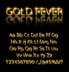 Golden english alphabet on a black background vector
