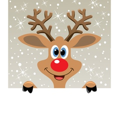 Happy red nosed reindeer vector